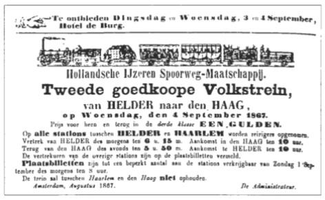 Advertentie Hollandsche IJzeren Spoorweg-Maatschappij.