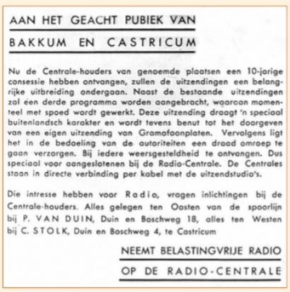 Bekendmaking van de radiocentrales nadat deze in 1926 een tienjarige concessie hadden gekregen.
